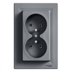 Asfora, double socket outlet with pin earth, 16A steel EPH9800262
